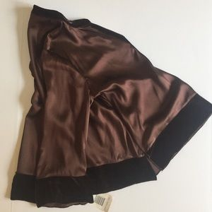 Silk Satin Velvet Boho Tunic Blouse Brown New L
